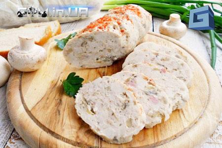 Рецепт: домашняя колбаса из курицы и шампиньонов
